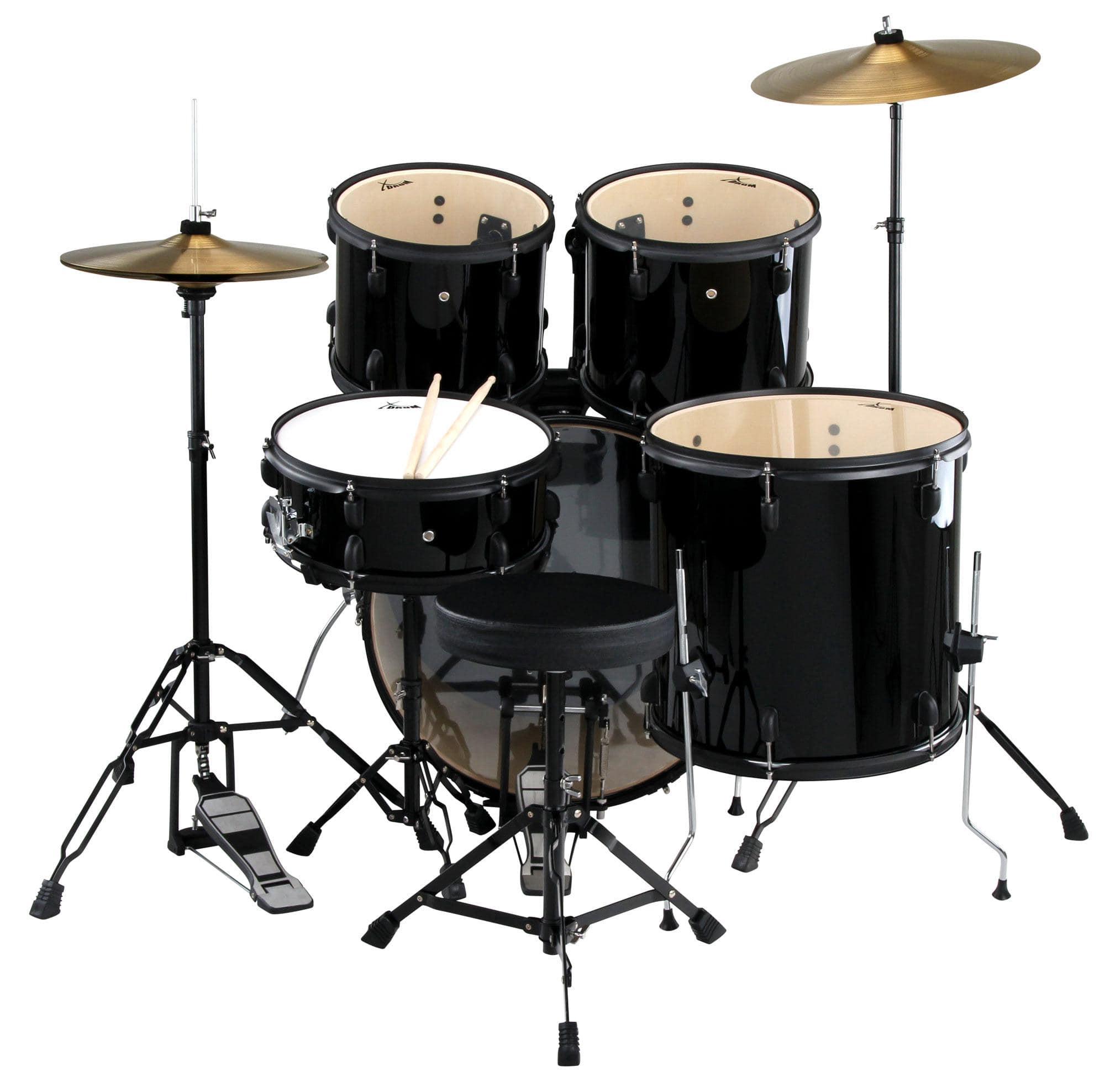 xdrum rookie ii standard drum kit complete set black including damper set. Black Bedroom Furniture Sets. Home Design Ideas