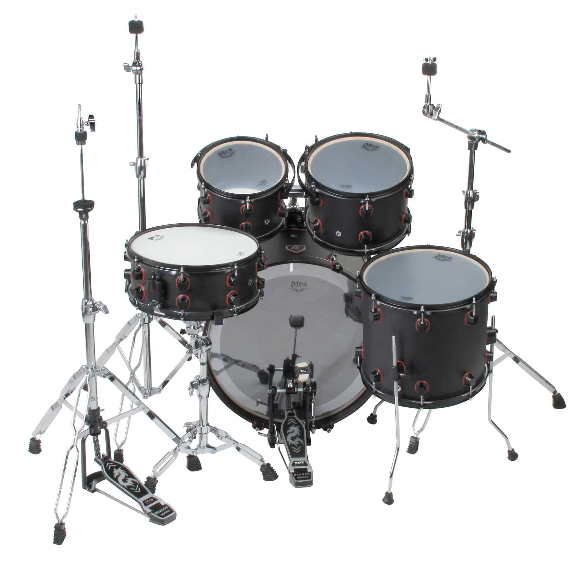 Mes Black Fusion Drumset Satin Black Red