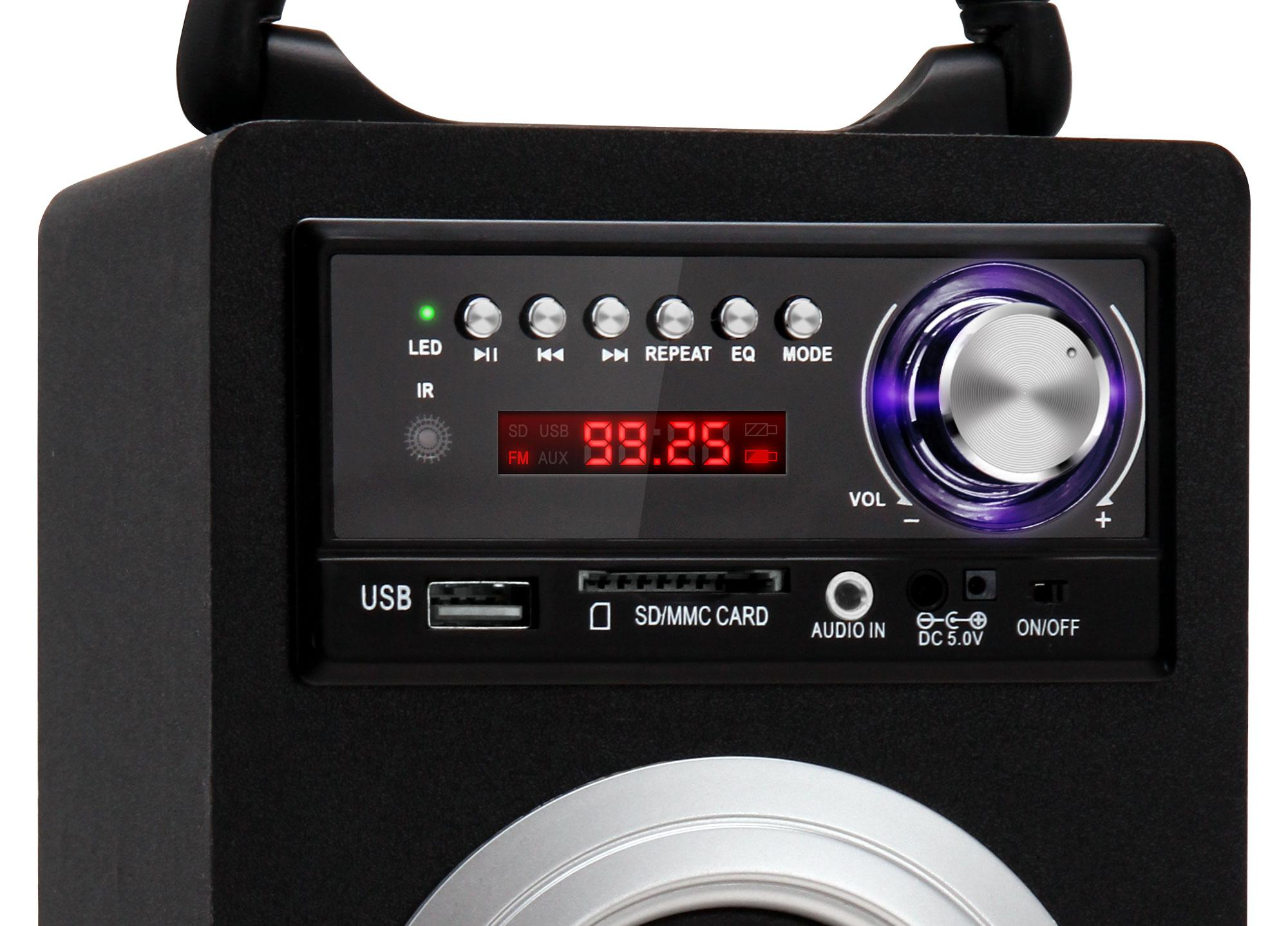 Lacoon Beachside portabler Bluetooth Lautsprecher USB, SD, AUX, UKW/MW Silber SET inkl. Akku ...