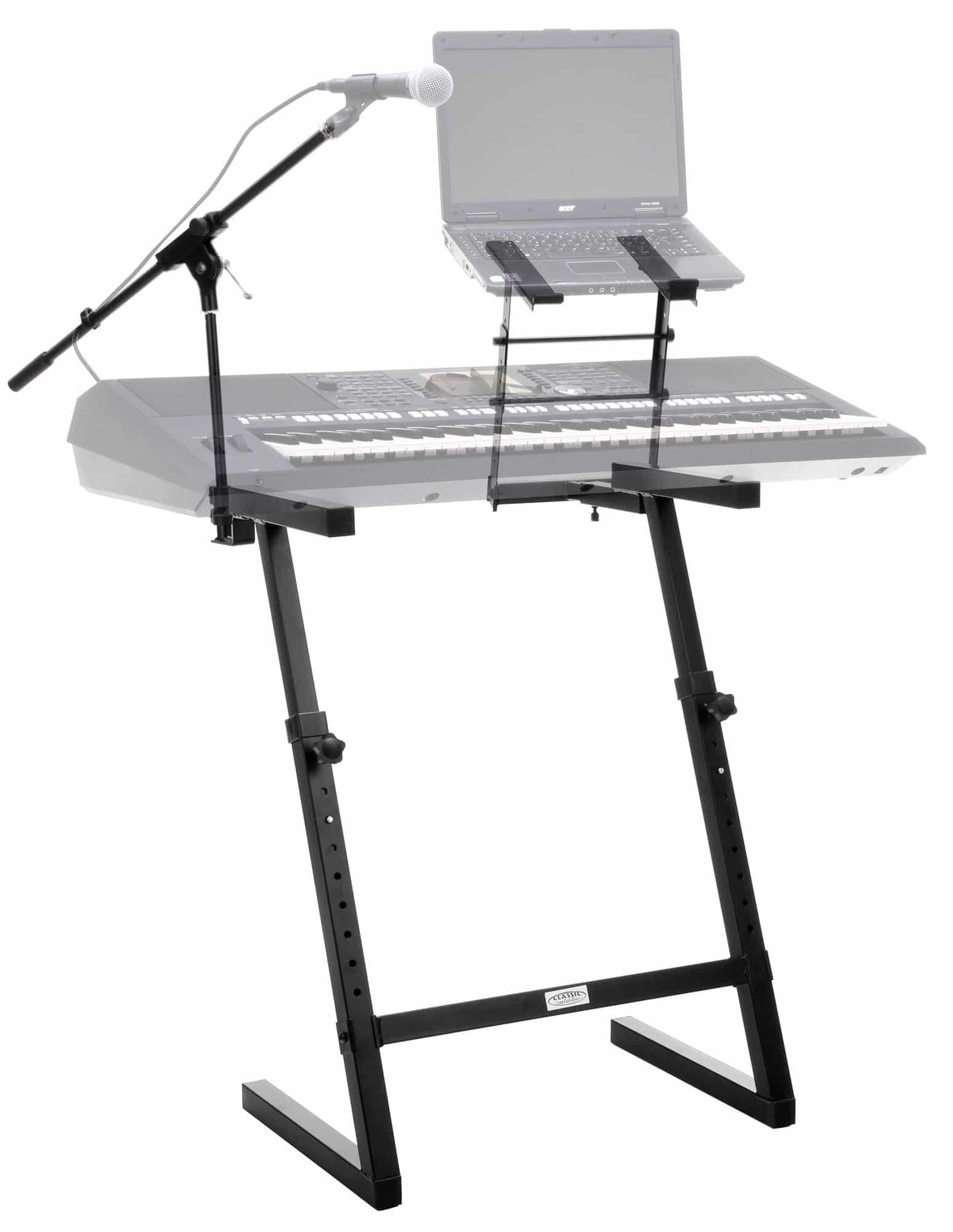 classic cantabile kws 100 keyboard stand with microphone stand and laptop holder kirstein music shop. Black Bedroom Furniture Sets. Home Design Ideas