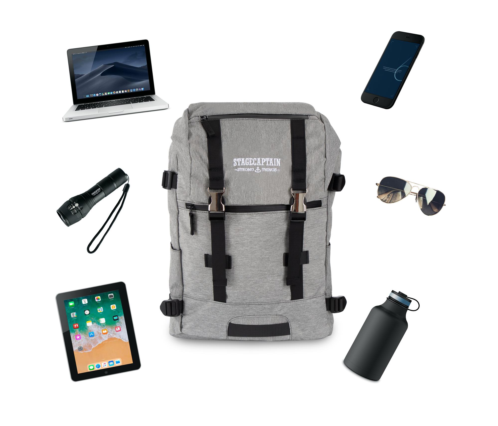 Sac-a-Dos-Backpack-Bandouliere-Ordinateur-Laptop-Ecole-Voyage-Unisexe-Gris miniature 6