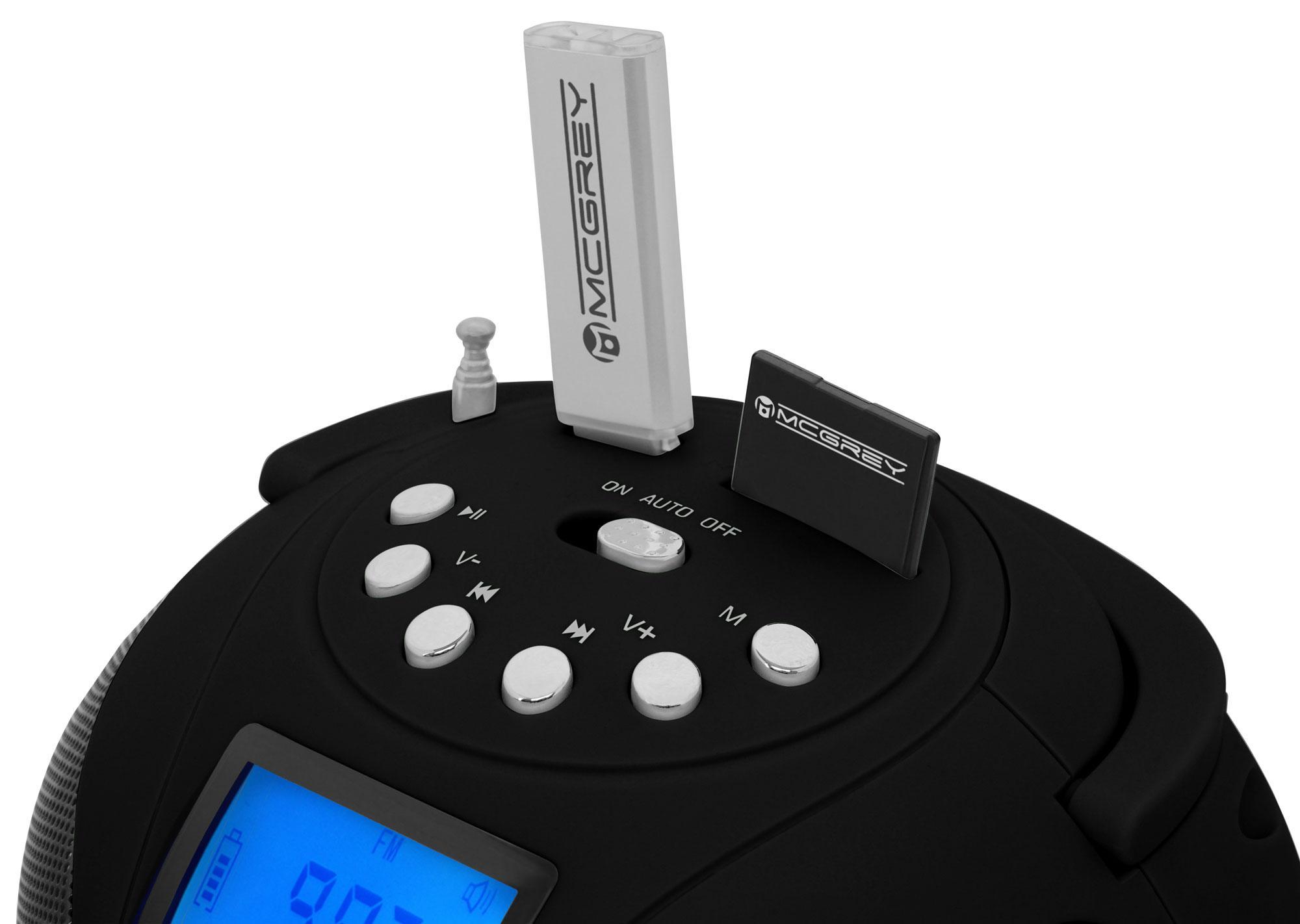 mcgrey boombox mc 50bt bk bluetooth lautsprecher mit usb sd slots und fm radio schwarz. Black Bedroom Furniture Sets. Home Design Ideas