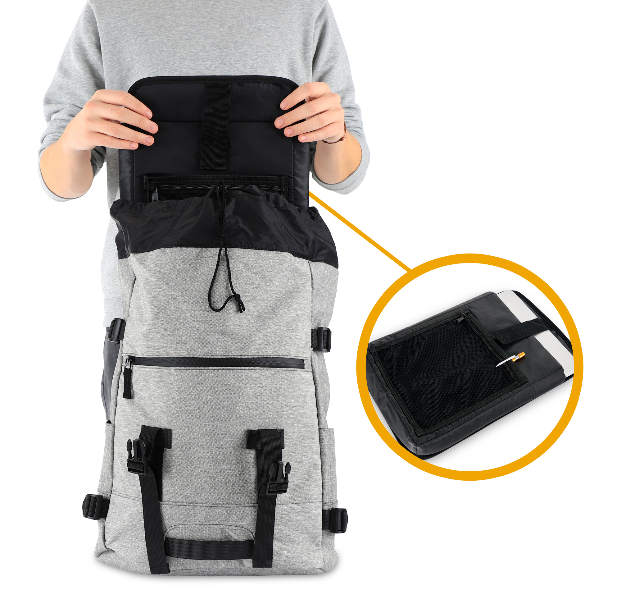 Sac-a-Dos-Backpack-Bandouliere-Ordinateur-Laptop-Ecole-Voyage-Unisexe-Gris miniature 7