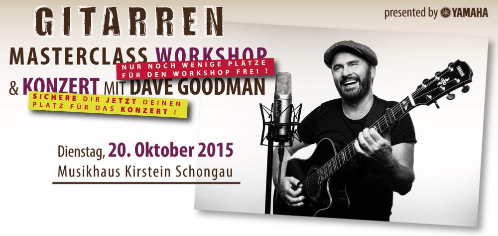 Gitarrenworkshop und Konzert mit Dave Goodman im Oktober 2015 im Musikhaus Kirstein.
