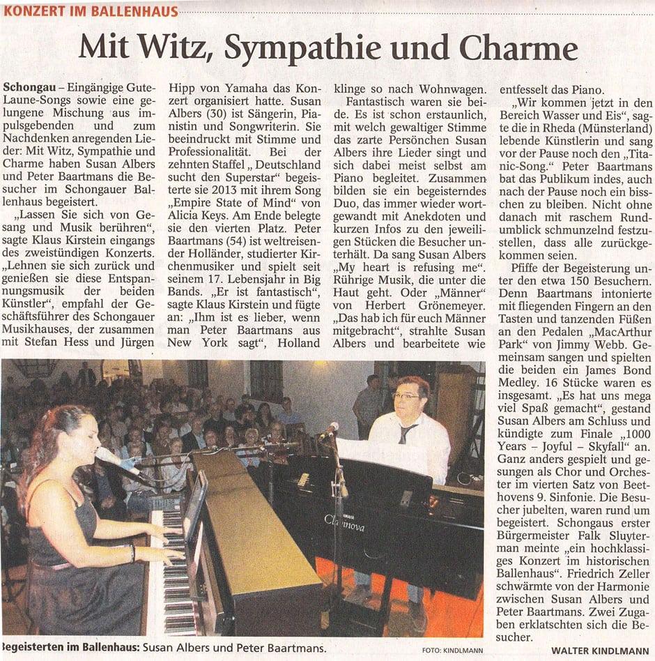 Artikel der Schongauer Nachrichten zum Konzert mit Susan Albers und Peter Baartmans