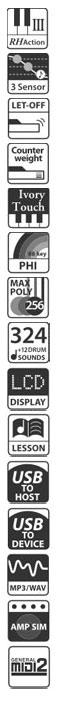Icons zum Spielgefühl, Klang und der Ausstattung des Kawai CN35