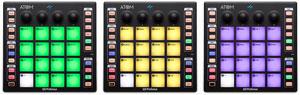 PreSonus ATOM Performance Controller 3 Stück nebeneinander, verschieden beleuchtet