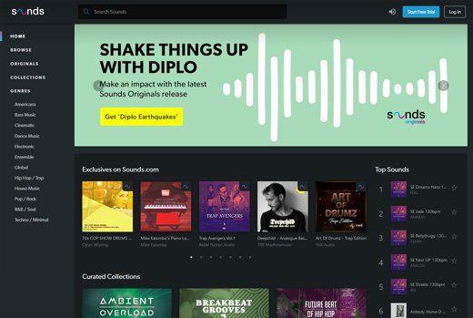 Sounds.com Oberfläche